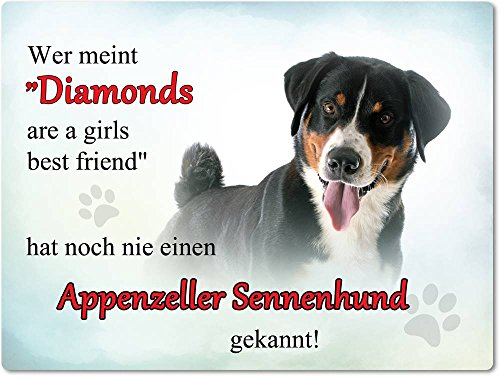 Merchandise for Fans Blechschild/Warnschild/Türschild - Aluminium - 15x20cm - - Motiv: Appenzeller Sennenhund - Wer Meint Diamonds Are a Girls Best Friend. - 01