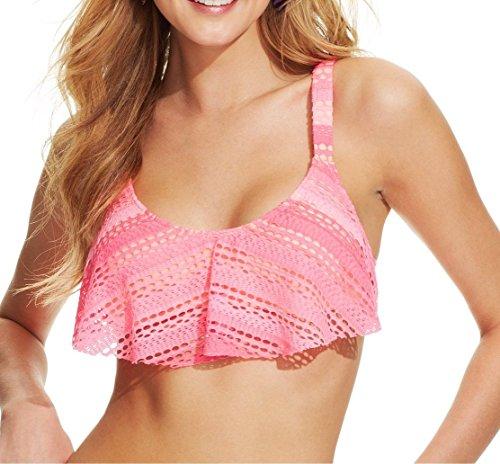 Hobie Junior's Crochet Flounce Overlay Bikini Top (Medium,Hot Pink)
