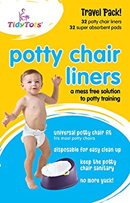 TidyTots Disposable Potty Chair Liners   XL Travel Pack of 32 Liners + 32 Absorbent Pads   Use with Potty Training Portable Toilet for Toddlers & Kids   Universal Fit from The Cumberland Companies LLC