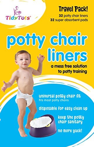TidyTots Disposable Potty Chair Liners | 2 XL Travel Packs, Total of 64 Liners + 64 Absorbent Pads | Use with Potty Training Portable Toilet for Toddlers & Kids | Universal Fit