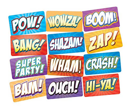 Superhero Party Photo Booth Props Signs 6pc Double Sided...
