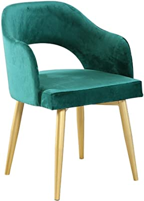 Furniture/Stool Velvet Padded Dining Chair, Clean and Convenient Wrought Iron Bracket Sturdy and Durable Nordic Minimalist Style Cafe Chair Green Creative Design Living Room Restaurant Clothing Store