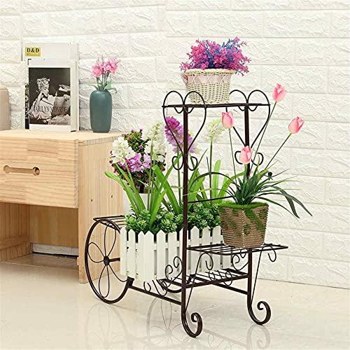 Soporte para carrito de jardín con 4 niveles para plantas, estante de metal para plantas, soporte para plantas bonsái, color negro, L