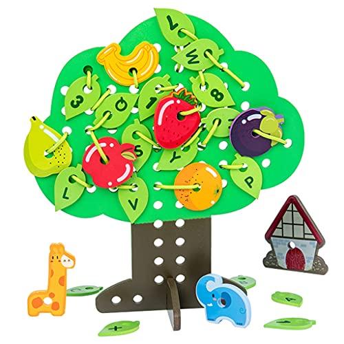 lahomia Juguete de Madera con Cordones de árboles Frutales Juego de Enhebrado Actividades Juguete Educativo Temprano