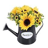XHXSTORE 2PCS Flores Artificiales con Macetas Girasoles Flor Amarilla Otoño para el Hogar Balcón Mesa Boda Restaurante Dormitorio Sala de Estar