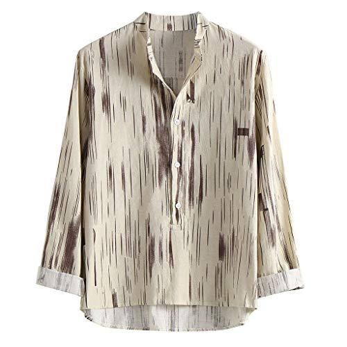 EdC_ Men's blouse Camisas de Manga Larga para Hombre, Sueltas y Casuales, de algodón y Lino, Caqui,…