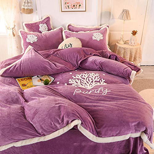 Shinon flannelette duvet cover single-Thick warm flannel towel embroidered single double bed single king-size duvet cover bedspread Christmas four-piece set-E_1.8m bed (4 pieces)