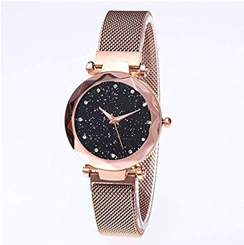 Generic Sternenhimmel Orologio da polso con cinturino magnetico in rete Elegance, da donna, con strass, analogico, al quarzo, orologio al quarzo
