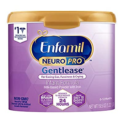 Enfamil NeuroPro Gentlease Baby Formula Gentle Milk Powder Reusable Tub, 19.5oz.- MFGM, Omega 3 DHA, Probiotics, Iron & Immune Support (Package May Vary)