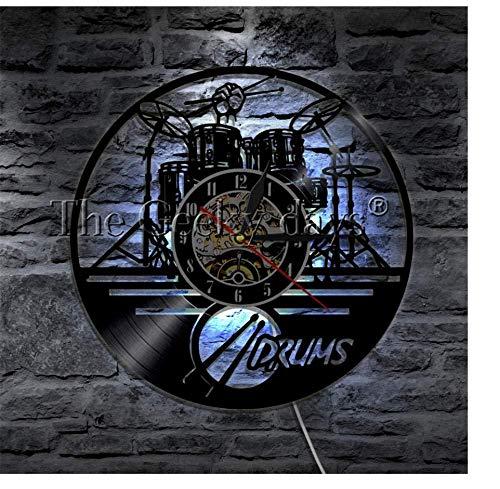 TTZSE Musikinstrument Schlagzeug Design Wanduhr Moderne Vinyl Uhr Wanduhr handgefertigte Kunst Uhr Wand Dekor einzigartiges Geschenk für Musikliebhaber 12 Zoll