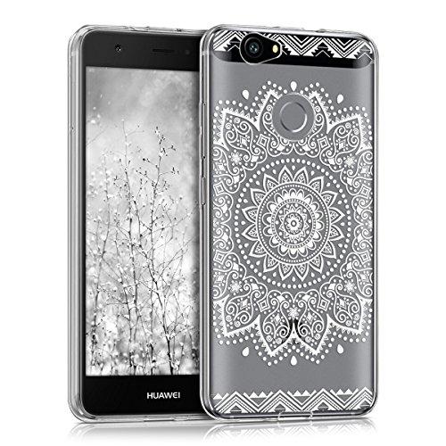 kwmobile Hülle kompatibel mit Huawei Nova - Hülle Silikon transparent Blume Weiß Transparent