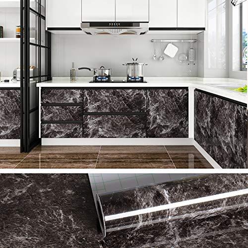 VEELIKE Papier de contact en marbre noir clair Peel and Stick Papier peint autocollant Papier granit pour comptoir d'armoire de cuisine Stickers muraux étanches amovibles 60 cm × 900 cm