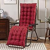 XCTLZG Cómodo cojín de asiento reclinable, cojín grueso para silla reclinable de jardín con correa antideslizante, cojín para tumbona para interior y exterior