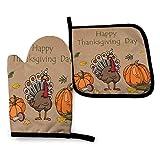 Día de Acción de Gracias, Resistentes al Calor, Impermeables, Antideslizantes, Guantes para Barbacoa, Juego de Almohadillas Calientes para Hornear, cocinar a la Parrilla