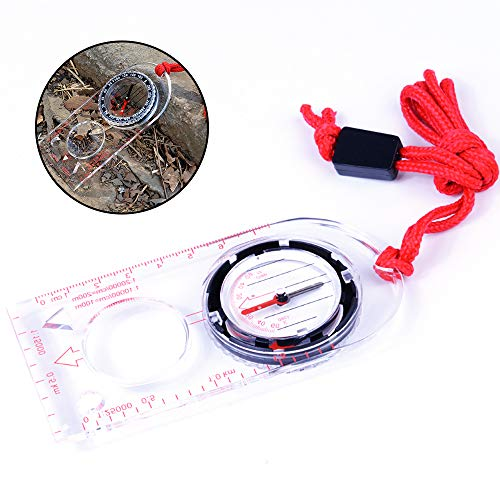 YChoice365 Tragbares Wandern Camping Outdoor Lineal Karte Lupe Kompass,Outdoor Camping Directional Cross Country Race Wandern Spezialkompass Grundplatte Lineal Karte Maßstab Kompass