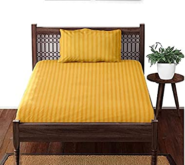 NEW LEAF® 210 TC Glace Cotton Satin Stripes/Lining Plain Bedsheet for Single Bed or Diwan Size with One Pillow Covers for Hom