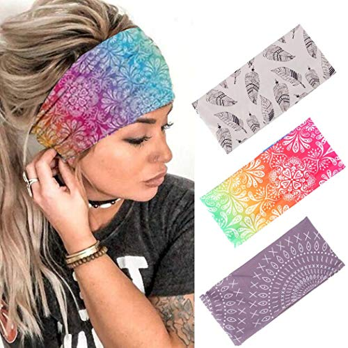 Zoestar Boho Breit Stirnbänder Running Head Schals Stylish Elastic Head Wraps Stretchy Turban Haarbänder für Frauen und Mädchen (3 Stück) (Rot)