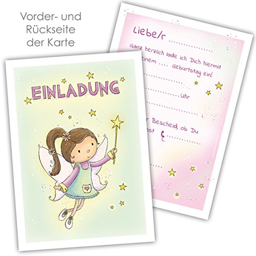 10 Einladungskarten KLEINE FEE für Mädchen zum Geburtstag, Motiv mit niedlicher Fee für Mädchen für die perfekte Feenparty