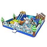 Gartentrampoline Großes attraktives Schloss im Freien Aufblasbarer Trampolin-Vergnügungspark vieler Kinder Kann 180kg tragen (Color : Blue, Size : 10 * 10 * 4m)