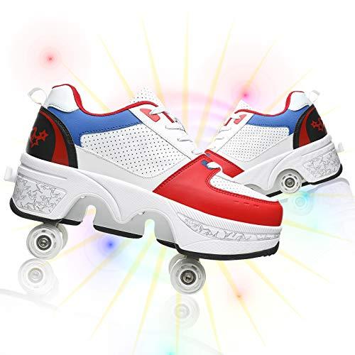 HealHeaters Patines de deformación para mujer, ajustables, automáticos, con 4 ruedas, polea deformada de doble fila, para niños y niñas, blanco, azul y rojo, 41