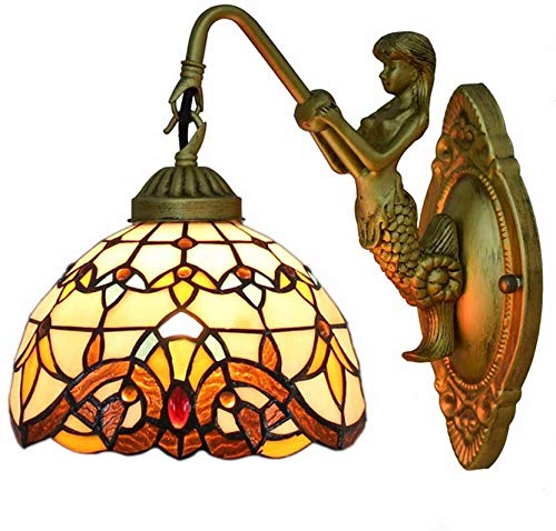 NEXFAN Lámpara De Pared con Vitrales Barrocos Lámpara De Pared con Base De Hierro Vintage Tiffany Pantalla De 7
