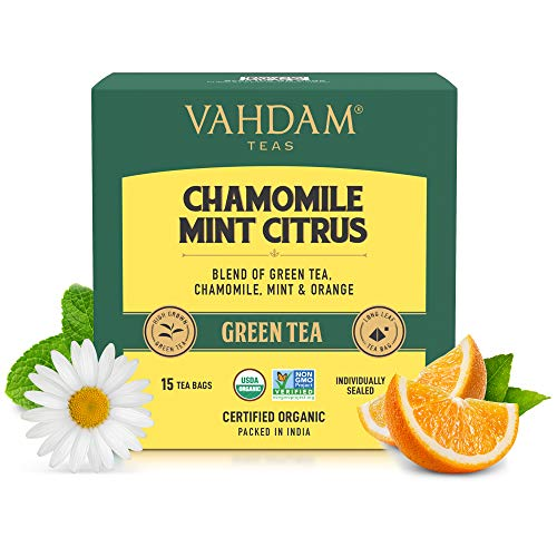 VAHDAM - Chamomile Green Tea with Mint & Citrus | 15 Chamomile Green Tea Bags | USDA Certified Organic Chamomile Tea