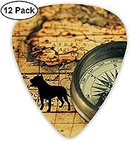 古代の地図上の古いヴィンテージコンパスギターピックアコースティックエレクトリックギターのプレミアムピックベースまたはウクレレには、薄い、中程度、重いゲージが含まれています