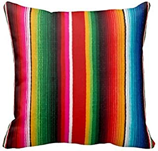 Colorful Mexican Style Throw Pillow Case