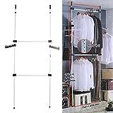 Teleskop Kleiderschrank Kleideraufbewahrungssystem Garderobenständer Verstellbare Kleiderstangen Kleiderständer 2 Poles 2 Bars
