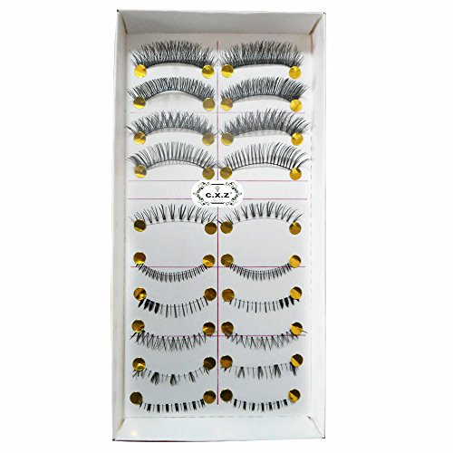 C.X.Z 10 Pairs 100% Handmade Invisible Clear Strip Band Thick Long Natural Soft Curly Japanese Fluctuation Fake Eyelash Upper&lower Bottom Mixed Style False Eyelashes by C.X.Z