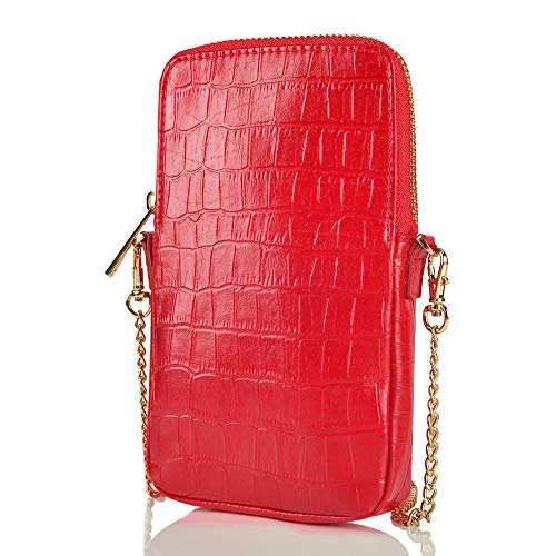 ZVE Crossbody Women Cell Phone Purse Wallet Bag with Credit Card Slot Cute Smartphone Wallet with Shoulder Chain Strap Small Leather Phone Purse Handbag for Women-EYW Red