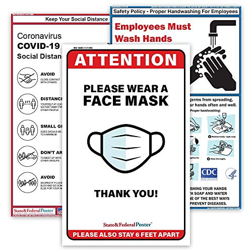 Covid Safety Poster Set Laminated. 3 Posters Included: Please Wear a Face Mask, Hand Wash, Social Distancing 11'x17'
