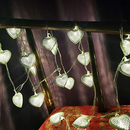 20 LED Love Heart String Lights, Christmas Lights, Indoor / Outdoor Decorative Light, Battery and USB Powered, 10 Ft, Warm White Light - for Patio Garden Party Xmas Tree Wedding Decoration