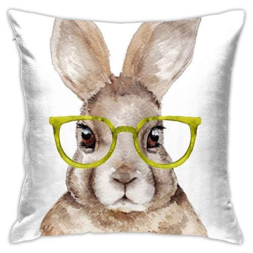 Throw Pillow Cover Case Retrato de Acuarela de Conejo. Ilustración Dibujada a Mano. Divertida Liebre con Gafas Funda de Almohada Decorativa 45cmx45cm Funda de cojín para sofá de Cama