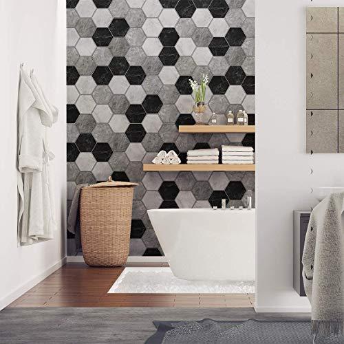 Pegatinas de azulejos hexagonales | Pegatinas autoadhesivas de azulejos de cemento – Mosaico de pared para baño y cocina | Adhesivo de pared – Azulejos 15 x 13 cm – 28 piezas mármol d