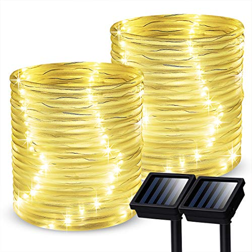GIGALUMI Outdoor Solar Rope Lights, 2 Pack Solar Powered Outdoor Waterproof Tube Light with 100 LED, 35.7 feet 8 Modes Copper Wire Fairy Lights for Garden Fence Patio Yard (Warm White)