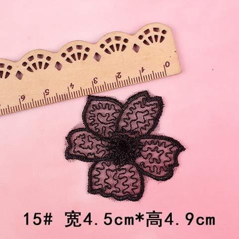 YFB 5 Flores de Encaje Negro Bordado Tela Apliques Organza Vestido reparación Apliques Malla Gasa Falda Parche sin Costura Parche 15#