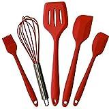 FGH QPLKKMOI Conjuntos de Cocina de Silicona Utensilios, 5 Piezas Set de Utensilios de Cocina, cocción y de Mezcla del Sistema de Herramienta de Cocina (Color : Red)