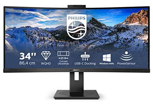 Philips 346P1CRH - Docking Monitor WQHD Curved USB-C da 34 pollici, con webcam, regolabile in altezza, HDR400 (3440 x 1440, 100Hz, HDMI, DisplayPort, USB-C, RJ45, USB Hub), colore: Nero