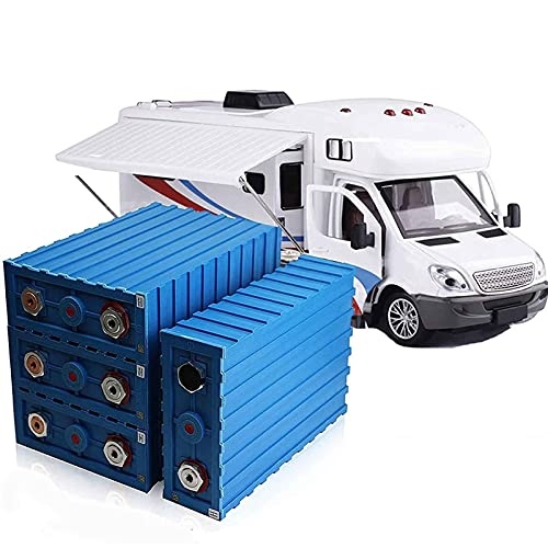 Battery 4PCS 3.2V 200Ah Lithium Iron Phosphate Battery LiFePO4 Prismatic Deep Cell Battery Pack with Bus Bars and Lug Nuts for RV Solar Boat UPS (Color : Blue, Size : 12pcs)