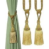 BEL AVENIR - Fermatenda decorativa fatta a mano, elegante, con nappe, per tende (oro, 2)