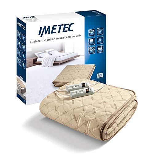 Imetec Relaxy - Calientacamas Matrimonial, 2 Controladores con 2 Niveles de Temperaturas, Tejido Acolchado, Lavable a Mano y en Lavadora a 40°, Sistema de Protección, 150 x 137 cm