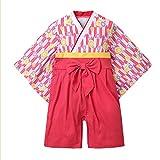 袴 ロンパース 着物 女の子 ベビー服 出産祝い (ローズストライプ, 70)