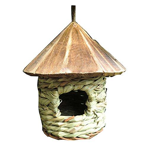 BLANCHO BEDDING Nid d'oiseau tissé à la Main de Paille Naturelle Toit en Bois Suspendu Birdhouse élevage nid d'éclosion