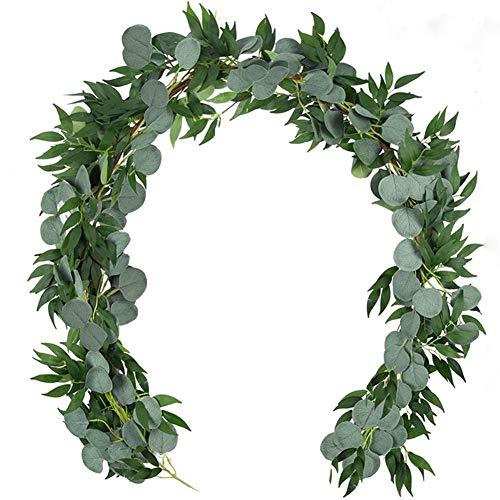 Künstliche Eukalyptus-Blätter und künstliche Hängen Willow Weinranken Blätter Garlands Eucalyptus for Hochzeitsfest-Ausgangsdekoration (Color : Yuliu, Size : 2m)