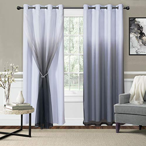 WONTEX Mix & Match Blackout and Sheer Ombre Curtains for Living Room/ Bedroom, White-Black, 52 x 104 inch Long – Thermal Insulated Sun Light Blocking Grommet Curtain Panels, Set of 2