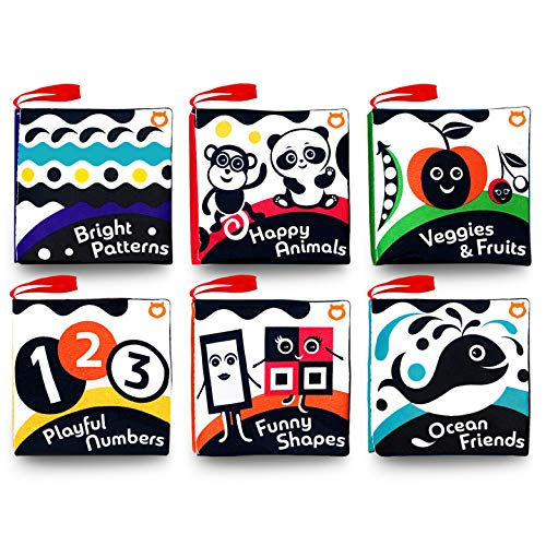 Cloth Books (Set of 6). High Contrast Soft Books. Black and White Images Encourage Infant Development – Suitable for Babies and Toddlers from 3 Months – ASTM Certified