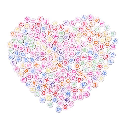 PandaHall アルファベット ビーズ 約200個 ラウンド 直径7mm レタービーズ ミックス 可愛い カラフル A-Z 文字 混合色 アクリル ビーズ 手作り用品 DIY用