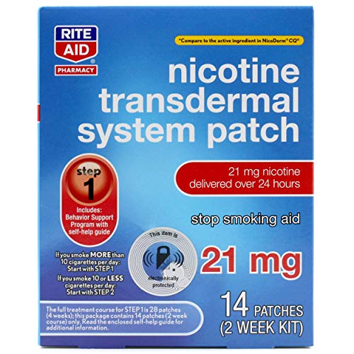 Rite Aid Nicotine Patches - Step 1 | 21 mg - 14 Count | Quit Smoking Patches | Smoking Aid to Help Quit Smoking | Nicotine Transdermal System Patch