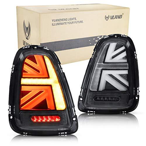 VLAND Rückleuchten für 2011 2012 2013 Mini Cooper R56 R57 R58 R59 Union Jack LED Lightbar Heckleuchten,mit gelber Blinker, mit LED DRL, klare Linse